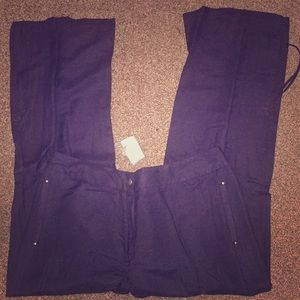 Navy bootleg trousers with drawstrings